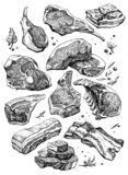 Meat black and white draw. ribs, bacon, chop. Black and white ink sketch of fresh meat products stock illustration