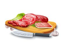 Meat On Board. Meat steak chopped and bacon on wooden board with kitchen knife and garlic vector illustration Stock Images