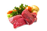 Meat for boiled with fresh vegetables Stock Photos