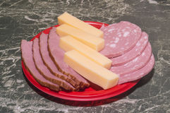 Meat, boiled sausage and cheese Royalty Free Stock Images