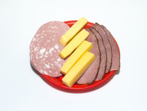 Meat, boiled sausage and cheese Royalty Free Stock Image