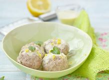 Meat bolls with lemon sauce Stock Image
