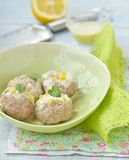 Meat bolls with lemon sauce Royalty Free Stock Images