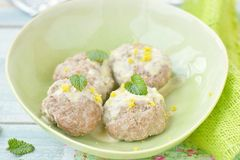 Meat bolls with lemon sauce Royalty Free Stock Photo