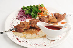 Meat from a brazier. With sauce and a garnish on a white plate Royalty Free Stock Image