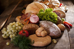 Meat and bread for eating Royalty Free Stock Image