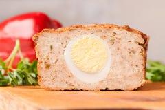 Meat bread from rissole turkey on wooden board Stock Photos
