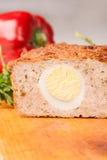 Meat bread from rissole turkey on wooden board Royalty Free Stock Photo