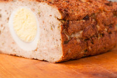 Meat bread from rissole turkey on wooden board Stock Photo