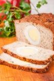 Meat bread from rissole turkey on wooden board Stock Image