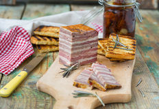 Meat bread with sun-dried tomatoes and croutons Royalty Free Stock Photo