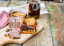 Meat bread with sun-dried tomatoes and croutons Royalty Free Stock Image