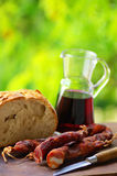 Meat bread and wine. Royalty Free Stock Photo