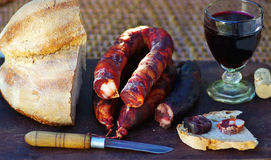 Meat bread and wine. Stock Photography