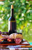 Meat, bread and wine Stock Image