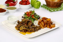 Meat breast fajitas with mushroom sauce and vegetables royalty free stock photo