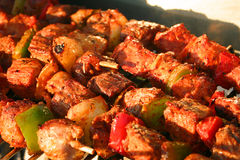 Meat Brochettes in detail on a Barbecue Stock Images
