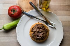 Meat with bulgur rice / Organic food. Royalty Free Stock Photography
