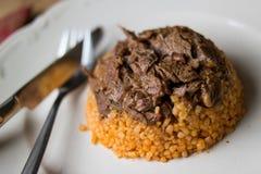 Meat with bulgur rice / Organic food Stock Photos