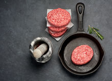 Meat Burger cutlets. Raw Ground Beef Meat Burger cutlets Stock Photos