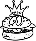 Meat burger king Cartoon Vector Clipart Stock Photo