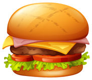 Meat burger on white. Illustration Stock Photography
