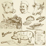 Meat, butcher. Hand drawn collection Stock Photography