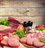 Meat. Butcher's Shop Raw Sausage Variation Freshness Chicken Stock Photography