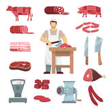 Meat Butcher Set. Flat colored icons set of meat products butchers guide images vintage grinder and scales isolated vector illustration Stock Photos