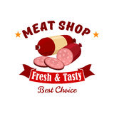 Meat and butcher shop emblem, label. Meat shop business emblem. Vector label of butcher shop with elements of fresh meat products wurst, salami, smoked sliced Royalty Free Stock Photography