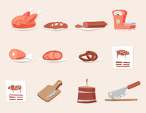 Meat Butcher Shop Retro Vintage Cartoon Design. Icons Set Vector Illustration Royalty Free Stock Photo