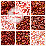 Meat, butcher shop sausages seamless patterns Royalty Free Stock Image