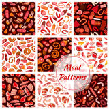 Meat, butcher shop sausages seamless patterns Stock Image