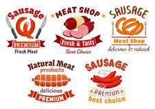 Meat butcher shop vector signs. Meat shop signs set. Grocery market, butcher shop vector icons of fresh veal, smoked pork sausage, beef meat loaf, grilled wurst Stock Images