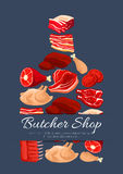 Meat and butchery products vector poster. Meat poster of cutting board and vector meat products pork tenderloin bacon and mutton ribs or sirloin, beef fillet Stock Photo