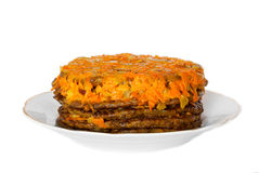 Meat cake, decorated with carrots Royalty Free Stock Images