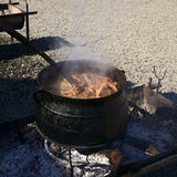 Meat in Caldron at the Muestras Gastronomicas 2016 in Achao, Chile Stock Photo