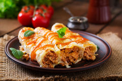Meat cannelloni sauce bechamel Stock Photos