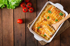 Meat cannelloni sauce bechamel. Top view stock image