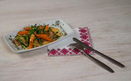 Meat with carrot and beens Stock Photo