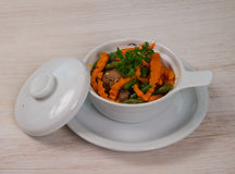 Meat with carrot and beens Royalty Free Stock Photography