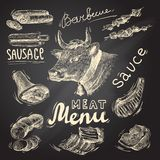 Meat chalkboard set. Meat food decorative icons set of barbecue menu chalkboard isolated vector illustration royalty free illustration