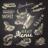 Meat chalkboard set royalty free illustration