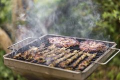 Meat on a charcoal grill. Outdoor cooking Stock Photos