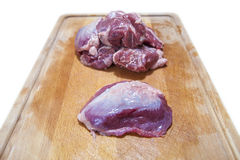 Meat cheek pieces of iberian pig Stock Images