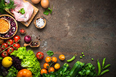 Meat cheese beans and vegetables on dark stone table. Balanced food background. Organic food for healthy nutrition. Meat beans and vegetables. Top view copy stock photos