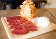 Meat, Cheese, Bread Royalty Free Stock Photos