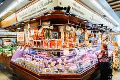 Meat, Cheese and Dairy Products For Sale In Santa Catarina Market Of Barcelona City. BARCELONA, SPAIN - AUGUST 05, 2016: Meat, Cheese and Dairy Products For Sale stock images