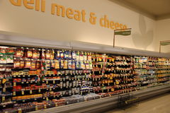 Meat and Cheese Deli. Shelves with meat in Supermarket Royalty Free Stock Image
