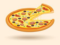 Meat cheese pizza symbol Stock Photo